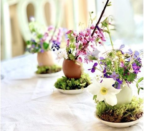 eggshell vases with wildflowers