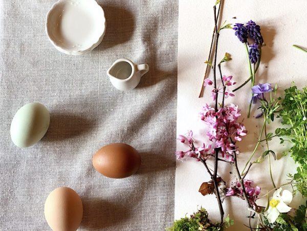eggs, flowers