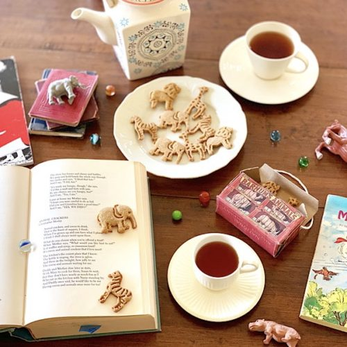 homemade animal crackers with tea, poetry, books